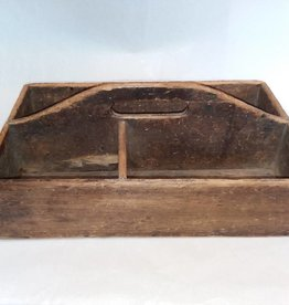 Wooden Tool Tote, Dovetail Corners, L.1800's, 16x10x4""