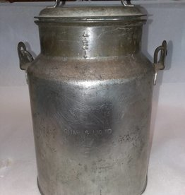 "Galvanized Cream Can w/Lid, 11"", 1950's"