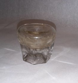 Clear Round Inkwell for Quill Pens, m.1800's, 2x2.5""