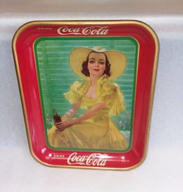 "American Artworks, Inc. Girl in Yellow Dress 1938 Coke Tray, 10.5x13.25x1.25"", Exc. Condition."