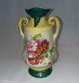 "2 Handled Floral Vase, 6"" Tall, c.1900"