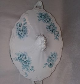 "Vegetable Dish w/Cover, Blue Floral Design, 11.5"", c.1950"