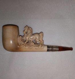 "Meerschaum Pipe w/Horse, Original Case, L.1800's, 5.5"""