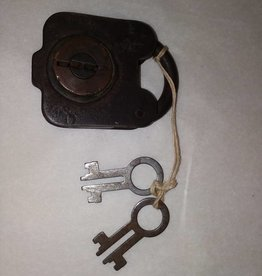 "6 Lever Padlock with 2 Keys, Works,  3x2"", L.1800's"