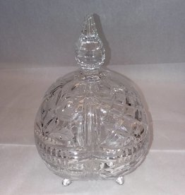 "Footed Pressed Glass Candy Dish w/Cover, m.1900's, 6x9"", 2 Pieces"