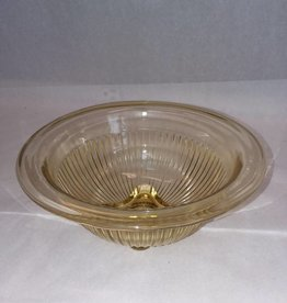 "Light Amber Ribbed Bowl, 7 1/8"", c.1940"