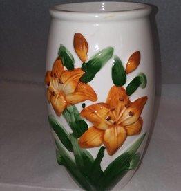 "Tiger Lilies Vase, 9.5"", c.1970"