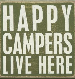 """Happy Campers Live Here Box Sign, 5x5"""""""