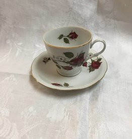Red Roses Cup & Saucer Fine China Camielow, Poland, flea bite lip of cup