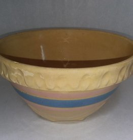 """McCoy Yelloware Mixing Bowl, Blue & Pink Bands, 1930's, 8.5x5"""""""
