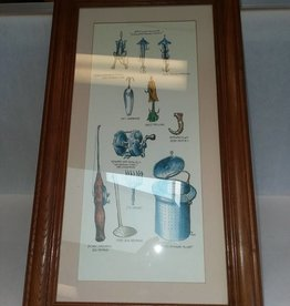 "Framed Fishing Gear & Tackle Print, 10.5x18.5"", L.1900's"