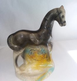 "Chalkware Black Pony, 1930's, 9.75x4.257.5"", Tip of Ear Broken, (As Is)"