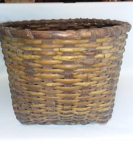 "Woven Fruit Basket w/2 Handle Cut-outs, 14x10"", E.1900's"