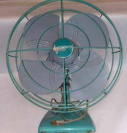 Dominion Turquoise 2 Speed Oscillating Metal Fan, 1950's, Works