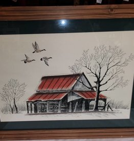 "Framed Barn with Geese Ink Drawing, 31x23"", c.2000"