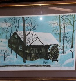 """Old Water Mill Lithograph, 25x19.25"""""""