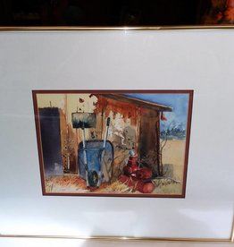 Framed & Matted signed original watercolor of  shed & wheelbarrow by Slocum, dated 1993