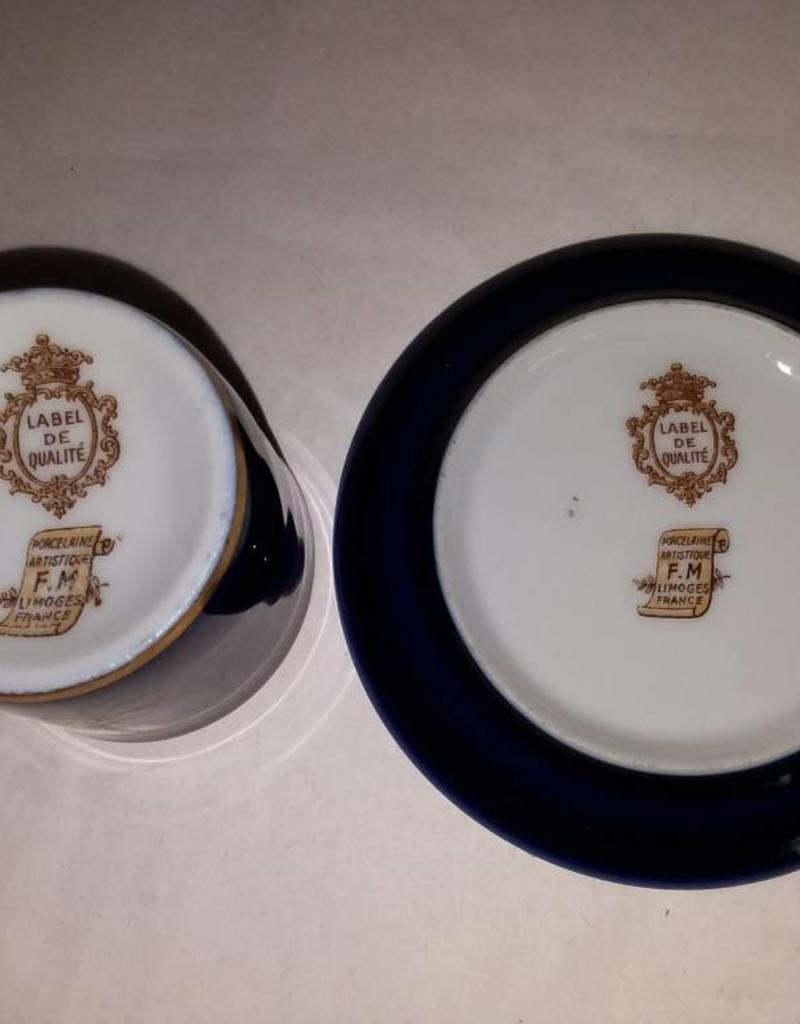 Limoge France Porcelain Artistique Saki Cup & Saucer, c 1950's