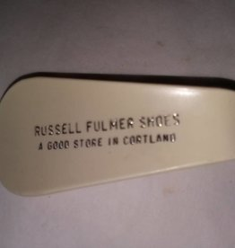 """Collectible Shoe Horn Russell Fulmer Shoe Store, Cortland, NY, c.1970, 3.75"""""""