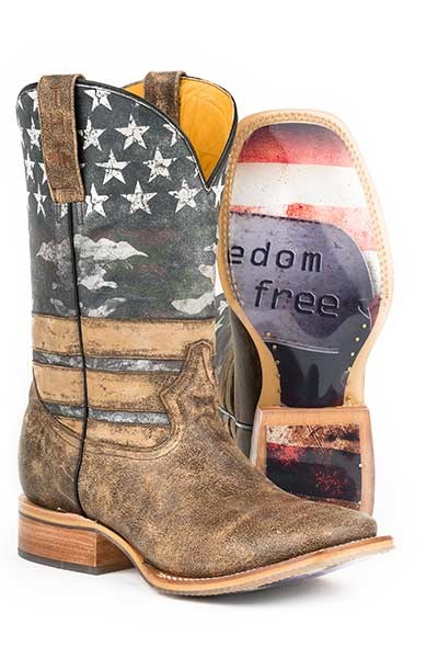 Tin Haul 14-020-0007-0220BR Tin Haul Freedom Isn't Free Mens Western Boot