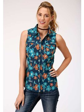 Roper 3-052-064-343Bu Roper Ladies Sleeveless Tropical Print Top