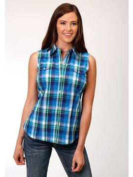 Roper 3-52-278-4039BU Roper Ladies Plaid Sleeveless Top