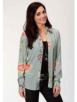 Roper 3-050-590-3030GY Roper Ladies Summer Blooms Long Sleeve Shirt
