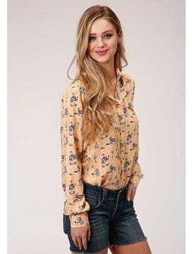 Roper 3-50-590-2005YE Roper Ladies Long Sleeve Cactus Bronc Print Shirt