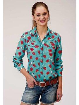 Roper 3-050-590-2030BU Roper Ladies Skulls & Roses Long Sleeve Shirt