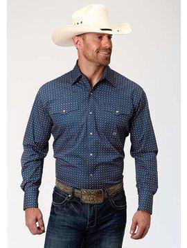 Roper 3-001-225-365 BU Roper Mens Long Sleeve Heritage Dot Shirt