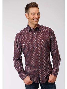 Roper 3-001-064-342RE Roper Mens Long Sleeve Red Octo Geo Print Shirt