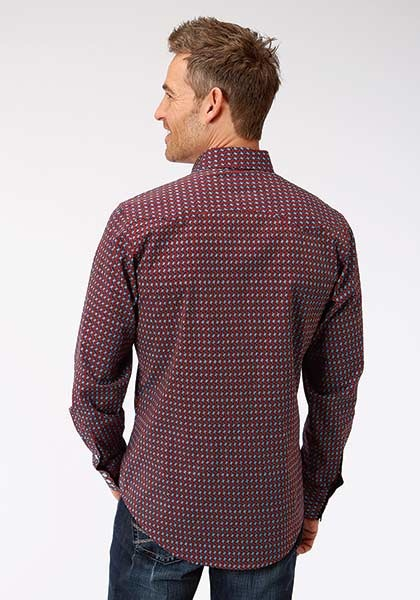 Roper 3-001-064-342RE Roper Mens Long Sleeve Octo Geo Print Shirt