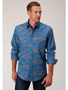 Roper 3-001-064-341 BU Roper Mens Long Sleeve Southwest Shirt