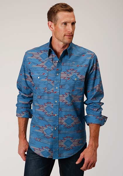 Roper 3-001-064-341 BU Roper Mens Long Sleeve Southwest Print Shirt