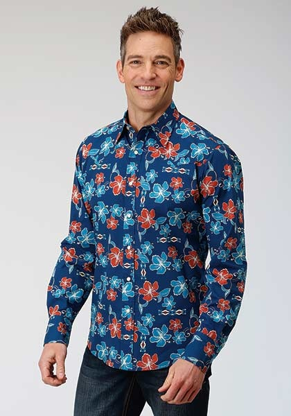 Roper 3-001-064-343BU Roper Mens Tropical Long Sleeve Shirt