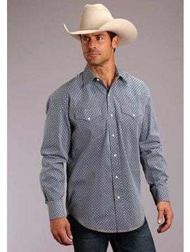 Roper 11-001-425-241BU Stetson Mens Long Sleeve Indigo Geo Print