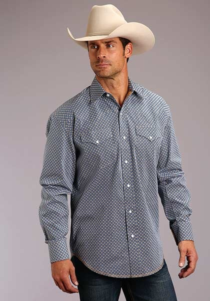Roper 11-001-425-241BU Stetson Mens Long Sleeve Indigo Geo Print Shirt