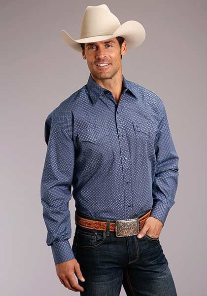 Roper 11-001-425-243BU Stetson Mens Navy Neat Long Sleeve Shirt
