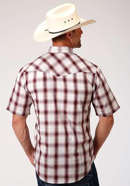 Roper 1-002-101-3029WI Roper Mens Short Sleeve Plaid Shirt
