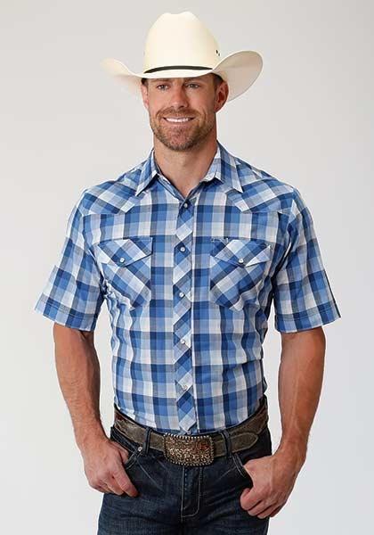 Roper 1-002-101-3022BU Roper Mens Short Sleeve Plaid Shirt