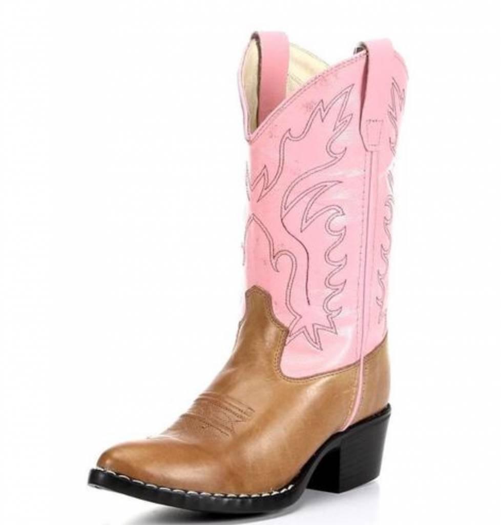 Jama Kids J Toe Brown/Pink Western Boot 8139