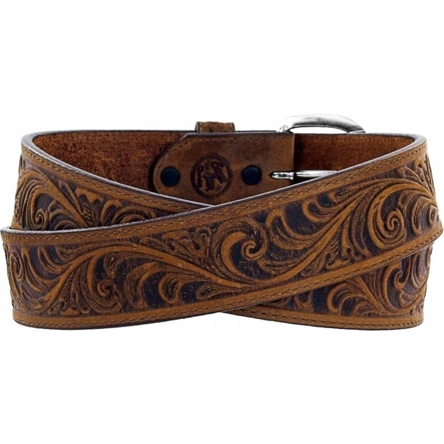 Leegin Men's Western Scroll Tooled Belt Bark 53909