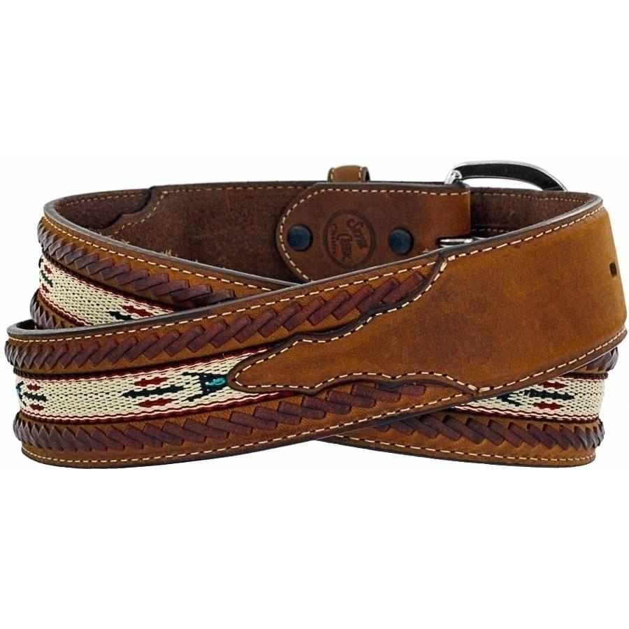 Leegin Men's  Lace Edge Horse Hair Ribbon Belt 5A109