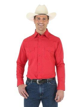 bdc77db84e Wrangler Men s Red Tone Tone L S Shirt 75746RD