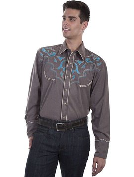 Scully Men's Turquoise/Brown Retro L/S Shirt P-872