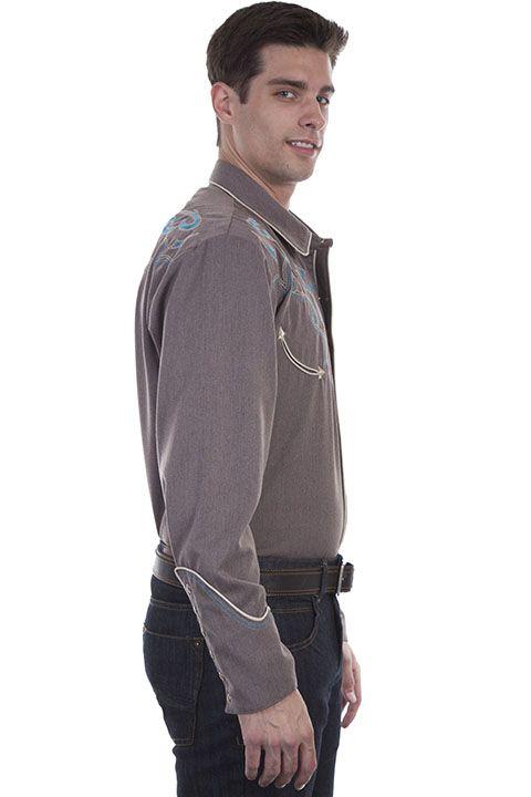 Scully Men's Turqoise/Brown Retro L/S Shirt P-872