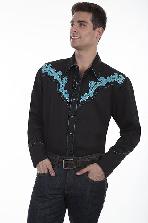 Scully Men's Retro Long Sleeve Shirt P-837