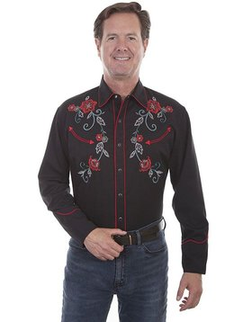 Scully Men's  Floral Embroidered Long Sleeve Shirt P-785