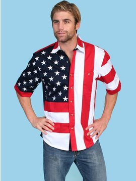 Scully Mens Short Sleeve Red White and Blue RW029SS