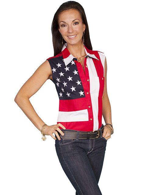 Scully Ladies Flag Sleeveless Shirt RW029LSS